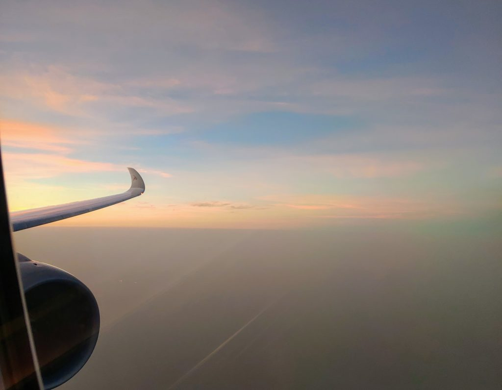 Qatar Airways - Sunrise coming up on this most unusual journey!
